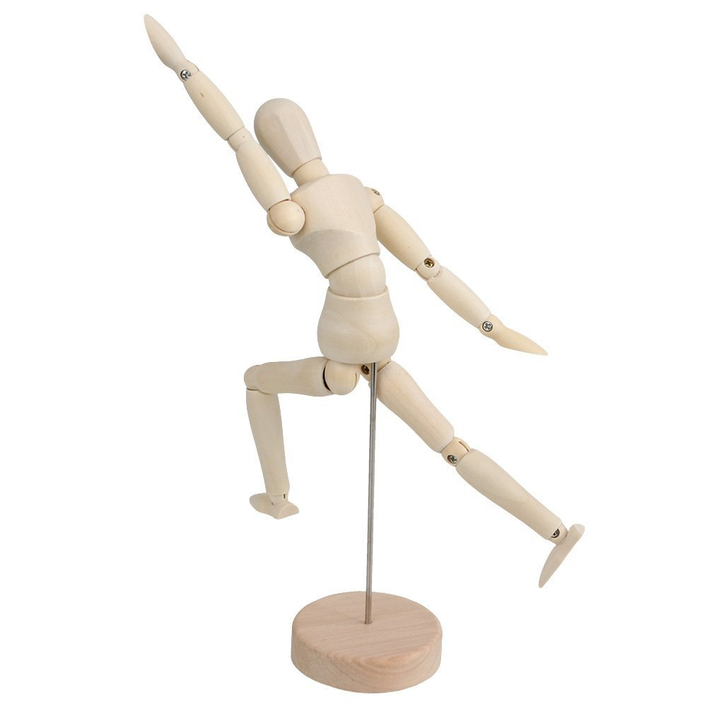 NEW Wood 4.5 Artist Drawing Manikin Articulated Mannequin with Base and Flexible Body