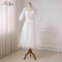 ADLN Cheap Short Wedding Dress 2018 New Arrival Half Sleeves Tea Length Beaded Applique Tulle Wedding
