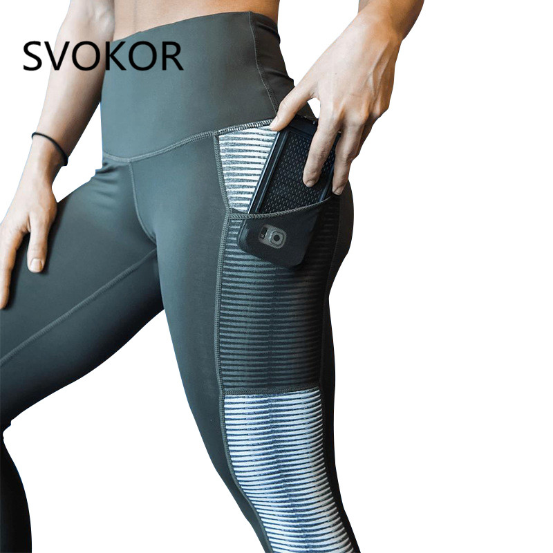 SVOKOR Female Leggings Trouser Activewear Pocket Patchwork Printing Push-Up Fitness High-Waist