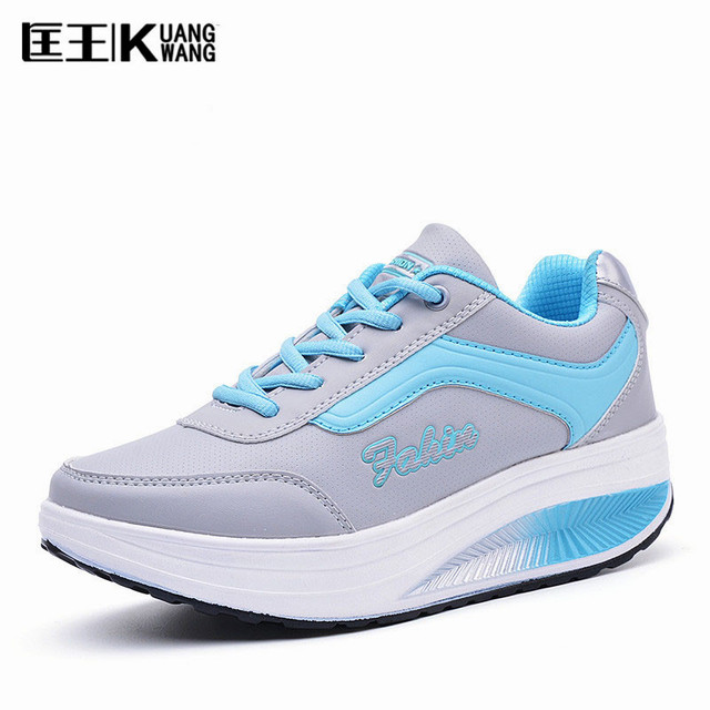 2017 Women's shoes PU Leather Slimming Swing Shoes Woman Ladies Platform Shoes Chaussure Femme