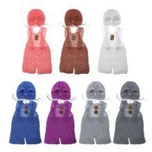 Комплект из шапки и комбинезона для новорожденных; мягкая мохеровая одежда для фото; Детский комбинезон; реквизит для фотосессии; Одежда для мальчиков и девочек с милым медведем