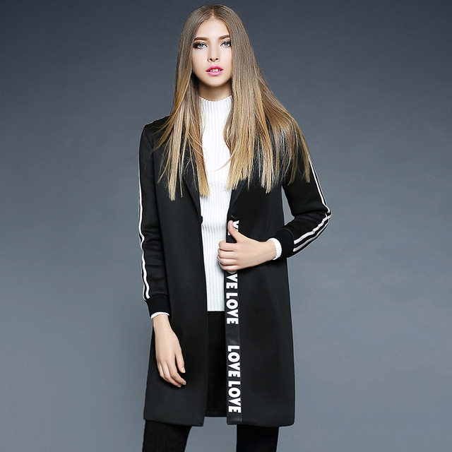 Autumn Winter Trench coats 2016 women fashion Letter patchwork design Medium long Cardigan warm Windbreaker dust Overcoat 2350