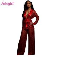 ae9f811cefc65 Adogirl Stripe Sequins Sheer Mesh Two Piece Set Women Sexy Long Sleeve  Cardigan Shirt Coat Top