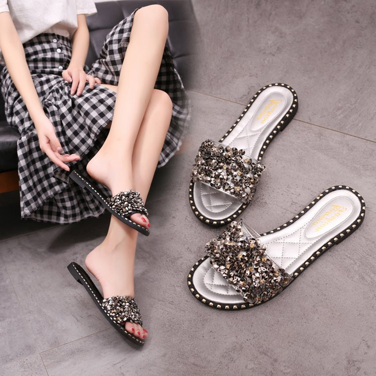 5849d3f68c1e Bling Bling Summer Gladiator Sandals Sexy Beach Flat Shoes Woman Gold Flats  Casual Women Shoes Size 35 40 3631-in Slippers from Shoes on Aliexpress.com  ...