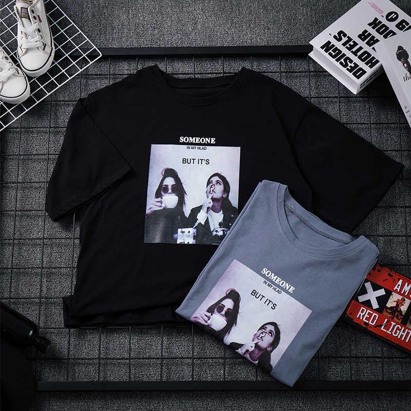 ผ้าฝ้าย Harajuku สไตล์ผู้หญิงเสื้อยืดรอบคอสั้นๆสบายๆแฟชั่นฤดูร้อนเสื้อยืด