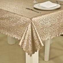 Custom tablecloth Europe Bronzing Waterproof no-clean Heat-resistant rectangular coffee table cloth Pvc plastic