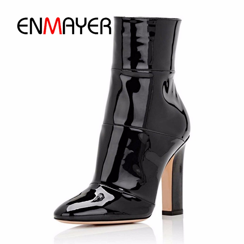 ENMAYER Women Ankle Boots Footwear Woman 2018 Fashion Shoes Big Size 34-45 Casual Pointed Toe Winter Chunky High Heels PU CR480 enmayer high heels pointed toe spring