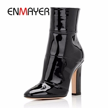 ENMAYER Women Ankle Boots Footwear Woman 2018 Fashion Shoes Big Size 34-45 Casual Pointed Toe Winter Chunky High Heels PU CR480
