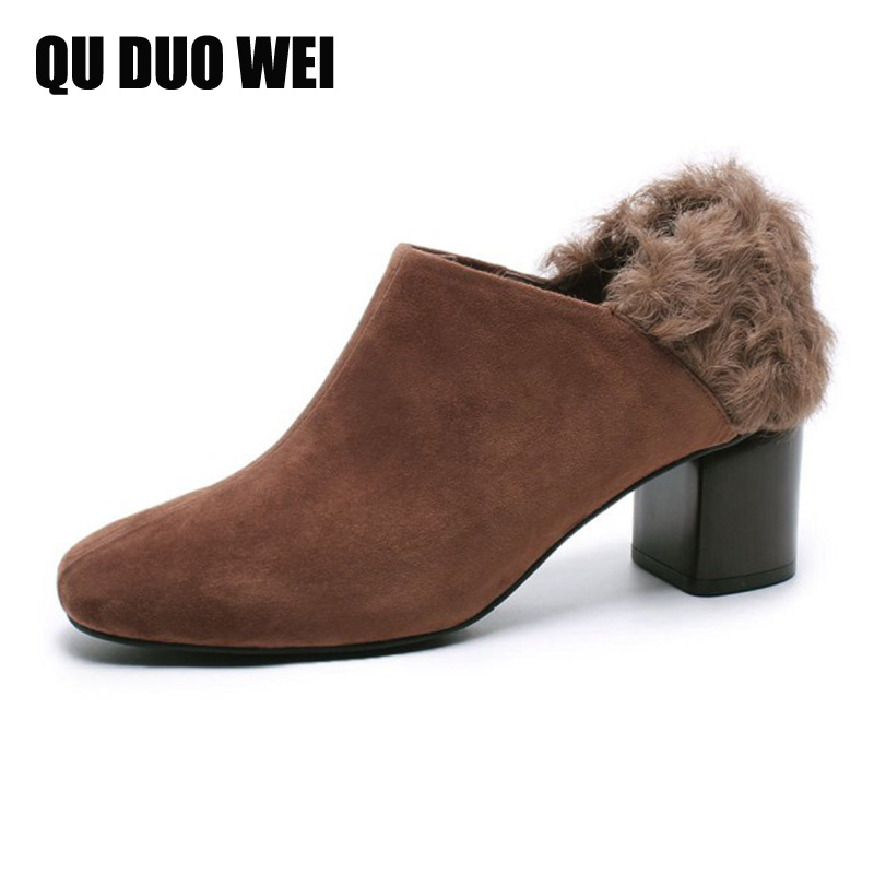 Kid Suede Leather font b Women b font Short Boots Black Brown Chunky Heels Ladies Pumps