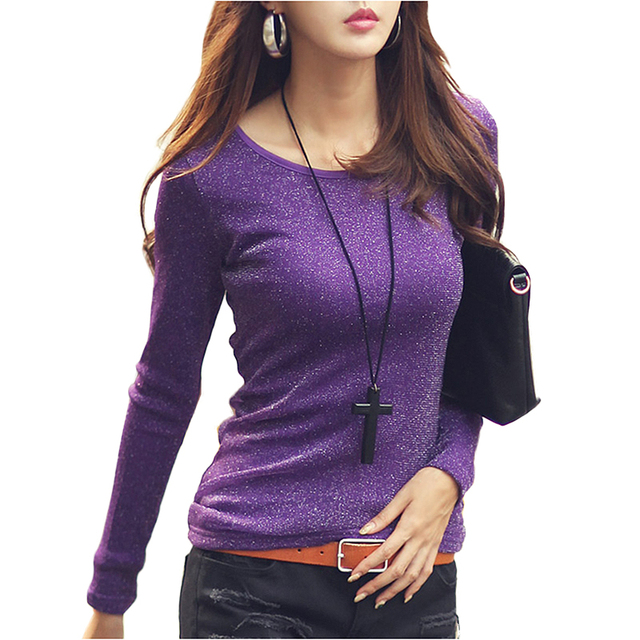 dea2a8a7e63 Plus Size Fashion Autumn t-shirt women harajuku o-neck long sleeve Sequined  tshirt
