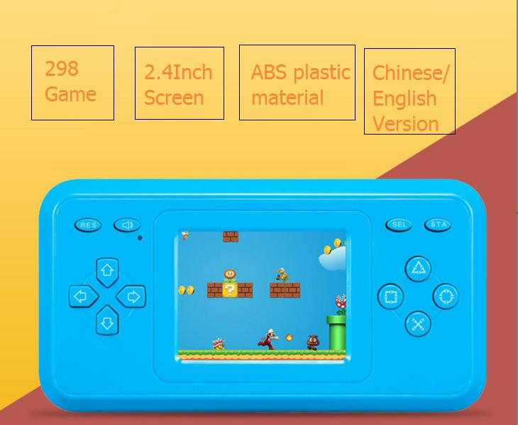 16cm Family Computer Station Game Toy ABS Chinese/english Version Kids Handheld Game Console 298 Game 2.4inch Multicolor Screen