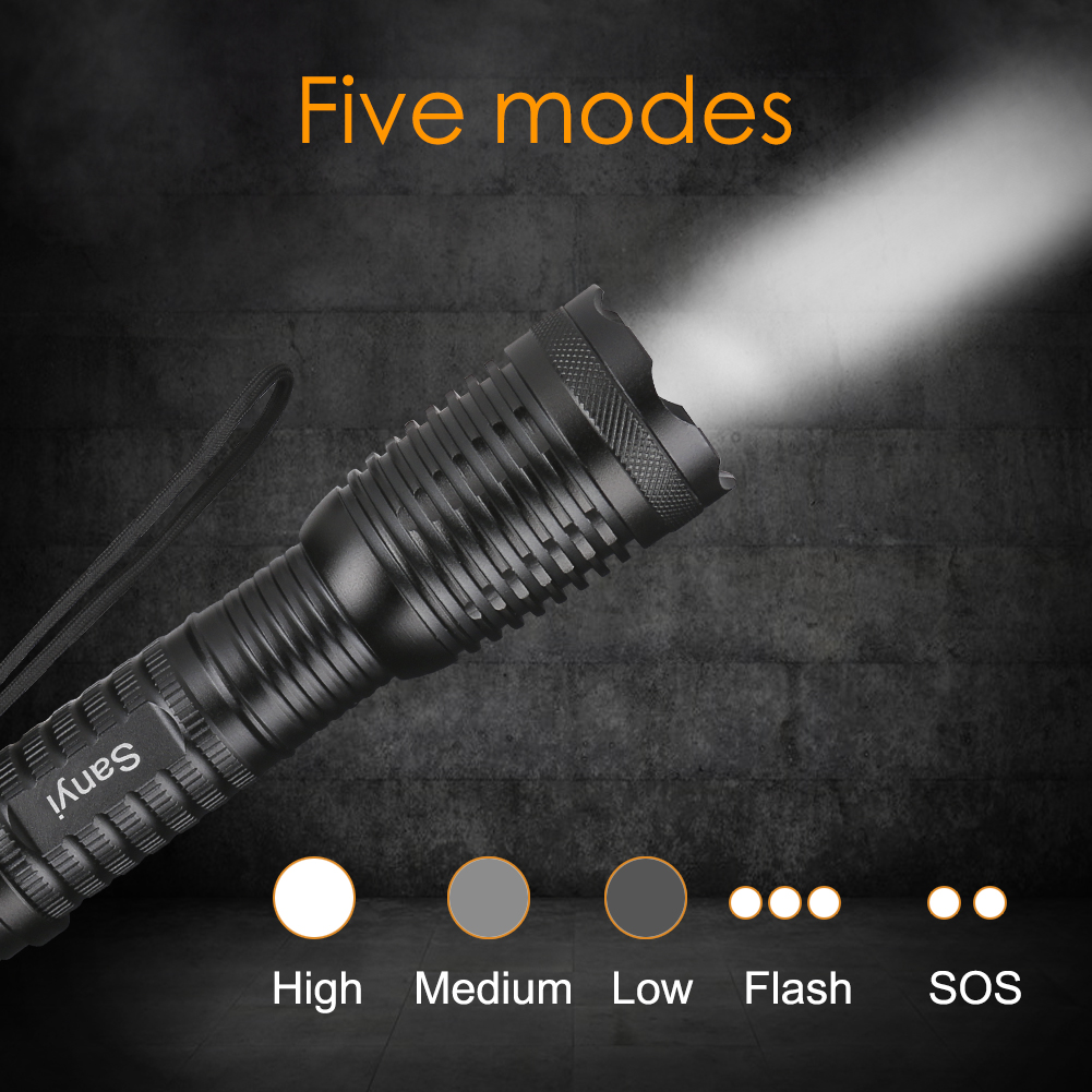 Sanyi 3800 Lumens CREE XML T6 LED Flashlight 18650 Torch Lamp Light 5-Modes Adjustable LED Flash Light Lampe Torche Antorcha adjustable cree xm l t6 flashlight zoom 3800 lumens 18650 rechargeable battery xml t6 led torch flash light 3800lm charger bike
