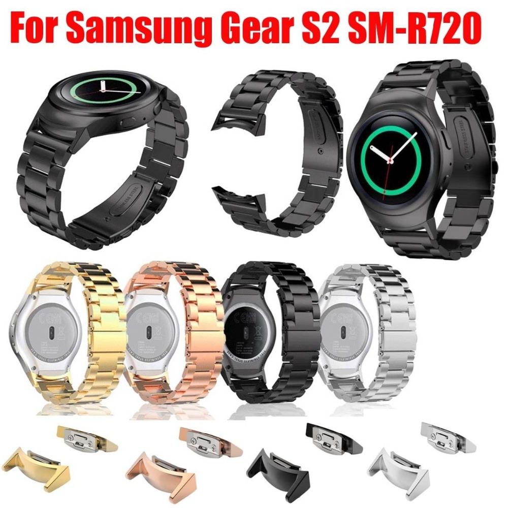 Stainless Steel Watch band with Connector Adaptor for Samsung Gear S2 RM-720 Soprt Strap for Samsung Gear S2 SM-R720 Band 1pcs new mtb carbon saddle full leather pu soft leather selle cycling high quality bicycle parts saddle bike road