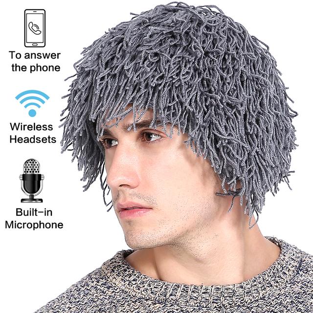 Ubit Wireless Women Men's Knit Bearded Music Hat Wig Winter Warm Ski Mask Hobo Mad Scientist Beanie Cap Bluetooth headphones