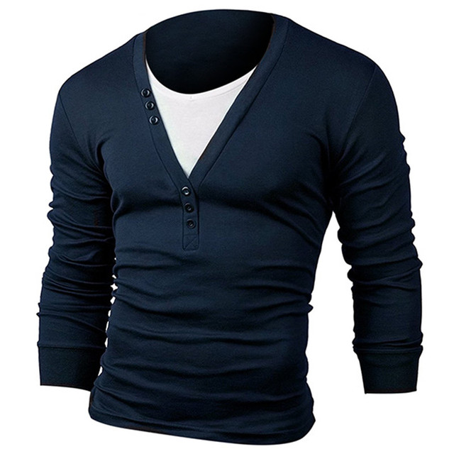 cce920ef38 US $21.78 |Stylish Men's T shirts Fake Two T Shirt Fashion Long Sleeve  Henley T Shirt V Neck Slim Fit Casual Tee Muscle Tops Plain Hombre-in  T-Shirts ...