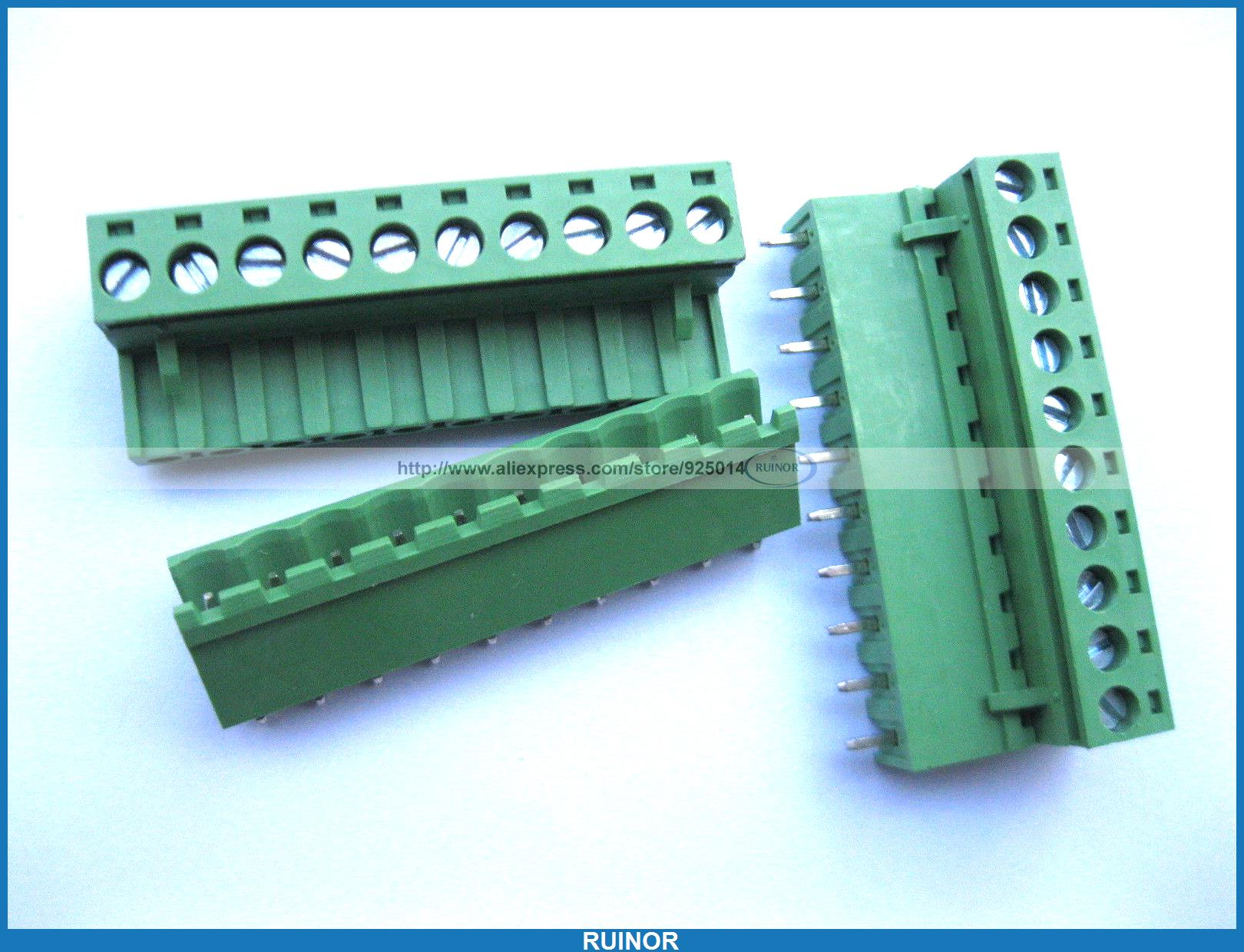50 Pcs 5 08mm Straight 10 Pin Screw Terminal Block Connector Pluggable Green 5 pcs 400v 20a 7 position screw barrier terminal block bar connector replacement