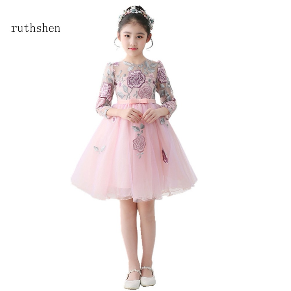 ruthshen 2018 New Full Sleeves   Flower     Girl     Dress   Real Photo Patter Pageant Gowns For   Girls   Weddings Cheap Kids Prom   Dresses   2018
