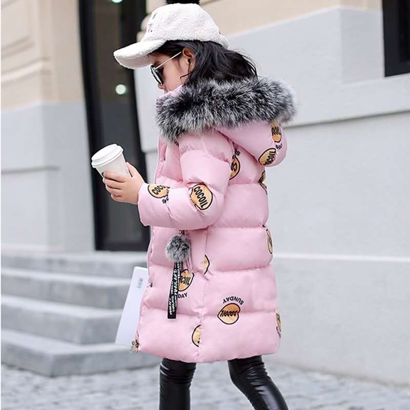 2018 New Fashion Kids Winter Coat Kids Warm Thick Fur Collar Hooded Long Cotton Coats Children Warm Jacket Teenage Girls Jackets brand fashion long winter jacket women slim solid hooded fur collar zippers ladies long jacket warm cotton coat plus size xxxl