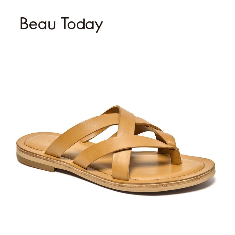 BeauToday D'été Pantoufles Gladiateur Style Doux Cuir de Vachette Véritable Femmes Flip FlopsTop Qualité Main 36049