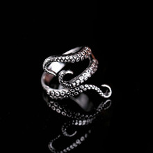 Steel Gothic Deep Sea Monster Squid Octopus Finger Tentacles Ring Fashion Jewelry Opened Adjustable Size Gift C13