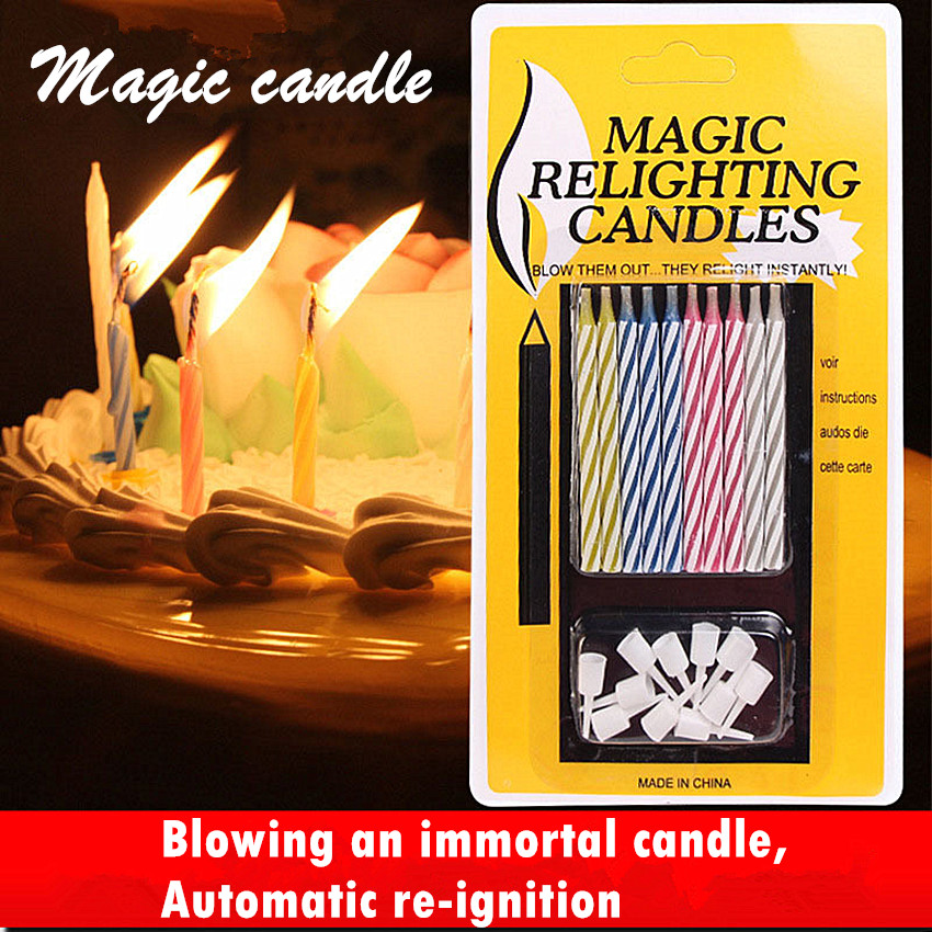 10Pcs Magic Candles Xmas Gift Home Decoration Magic Trick Relighting Candle Decor Crafts For Party Birthday Cake Party Joke