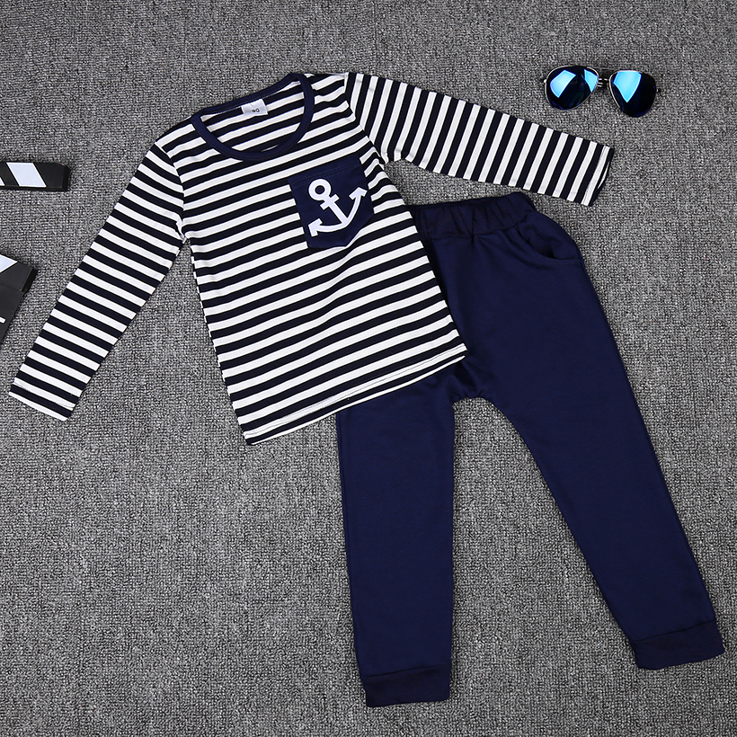 Spring Kids Clothes, Navy Long Sleeve Pullover Striped Sports Suit, Hot Sale New