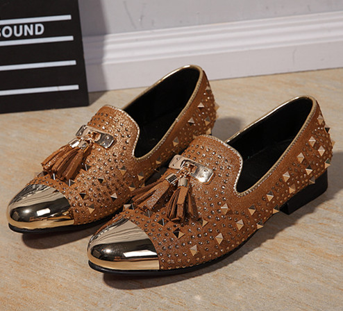 Choudory Full Rivets Men Slip On Loafers Casual Flats Fringe Decor Prom Dress Shoes Mens Oxfords Mocassin Homme 9 inch girl doll princess doll with clothes vivid vinyl doll toys for children christmas present