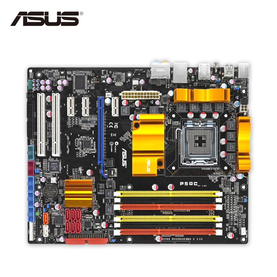 Asus P5QC Original Used Desktop Motherboard P45 Socket LGA 775 DDR2/16G DDR3/8G SATA2 USB2.0 ATX asus p5kpl epu original used desktop motherboard p5kpl g31 socket lga 775 ddr2 atx on sale