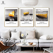 The Vivid Yellow Boat Parks On The Quiet Surface Of Sea Near The River Bank Decorative Wall Paintings Pictures For Home Decor
