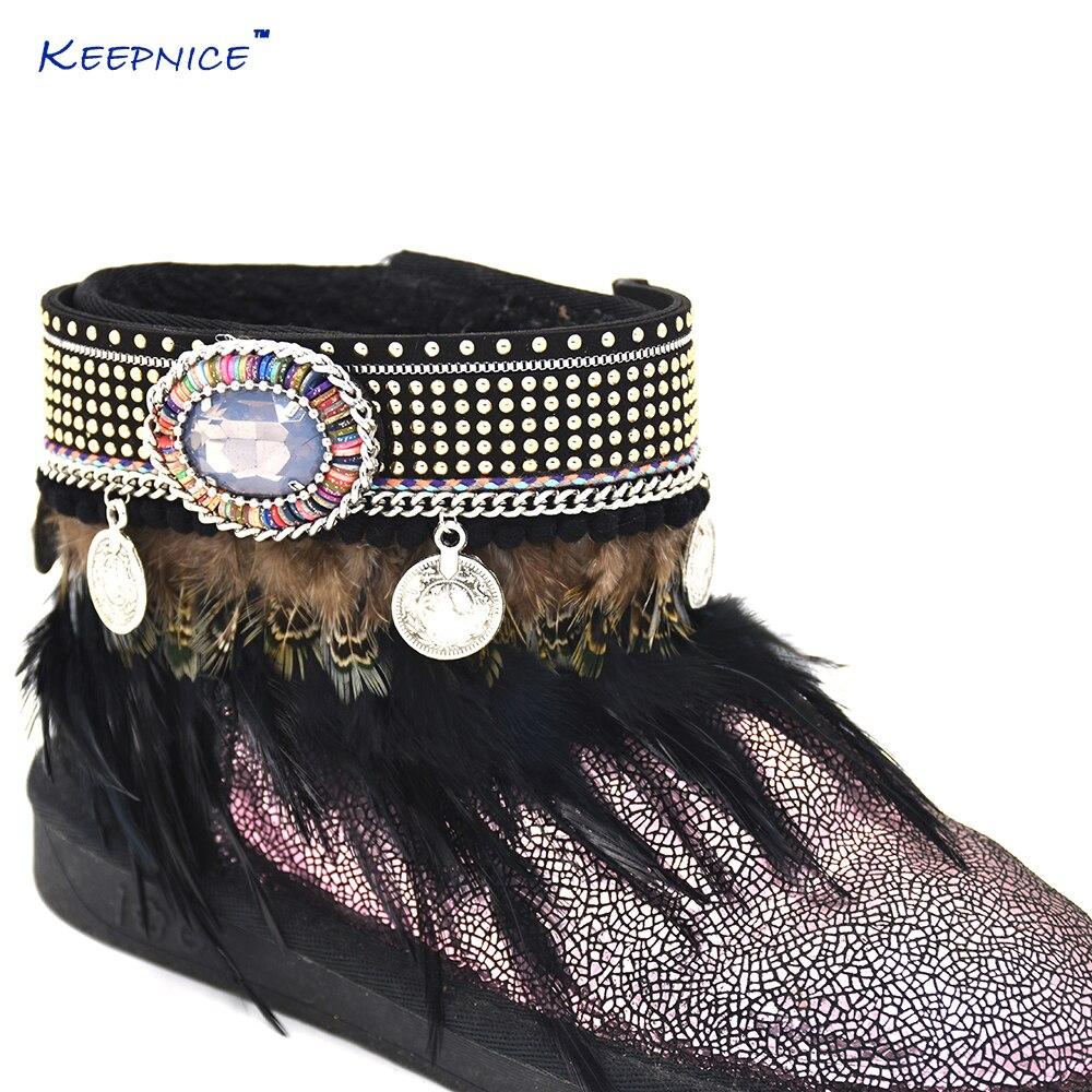 Barefoot Sandals Boho Anklet Bracelet Gypsy Barefoot Vintage Coin Charm Tobilleras Black Feather Tassel Charm Ankle Bareclets