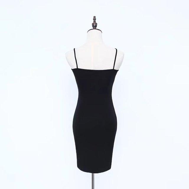 Women Basic Slip On Bodycon Dress Sexy Slash Neck Skinny Cami Dresses