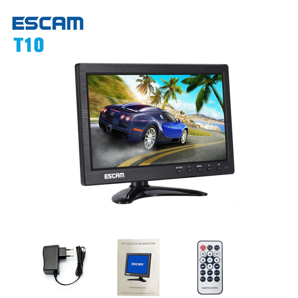 ESCAM T10 10 Inch TFT LCD Remote Color video Monitor Screen with VGA HDMI AV BNC USB for PC CCTV home Security system Camera 17 inch tft cctv lcd 4 3 lcd color monitor screen display bnc vga av hdmi input with stand for hdmi microscope camera pc