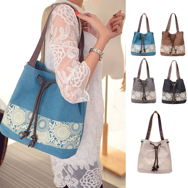 Fashion Women Canvas Crossbody Bags Flower Shoulder Bag Female Big Capacity Drawstring Tote Casual Shopping Handbag