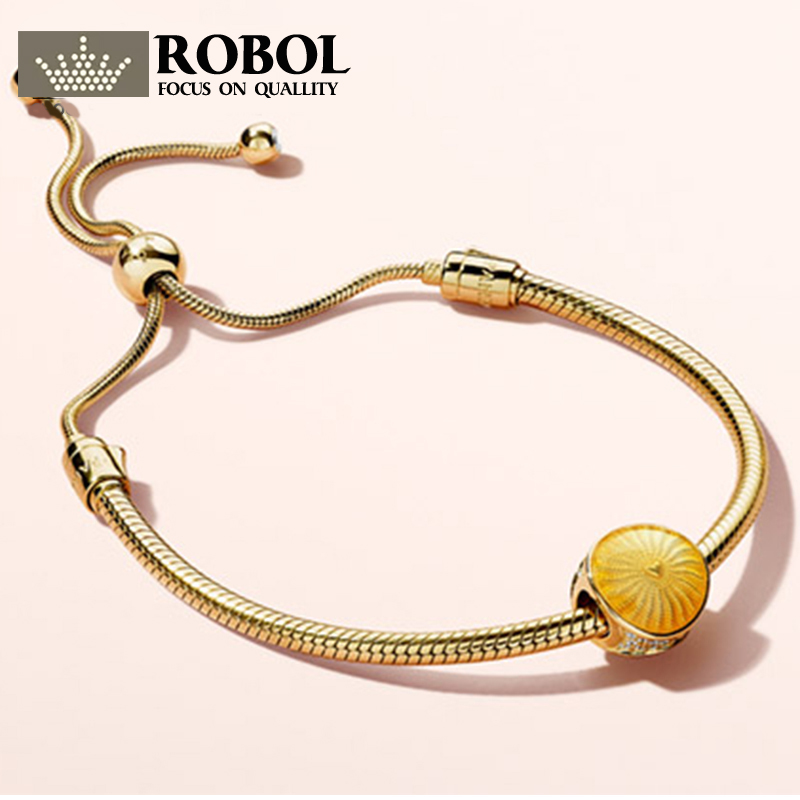 ROBOL 100% 925 Sterling Silver New 18K Gold Shining Twinkle Bracelet Sunshine Sunshine Beaded Bracelet Set цена