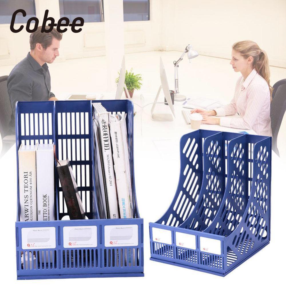 cobee Plastic Three Sections File Rack Folder Office Supplies Storage Magazine Holder