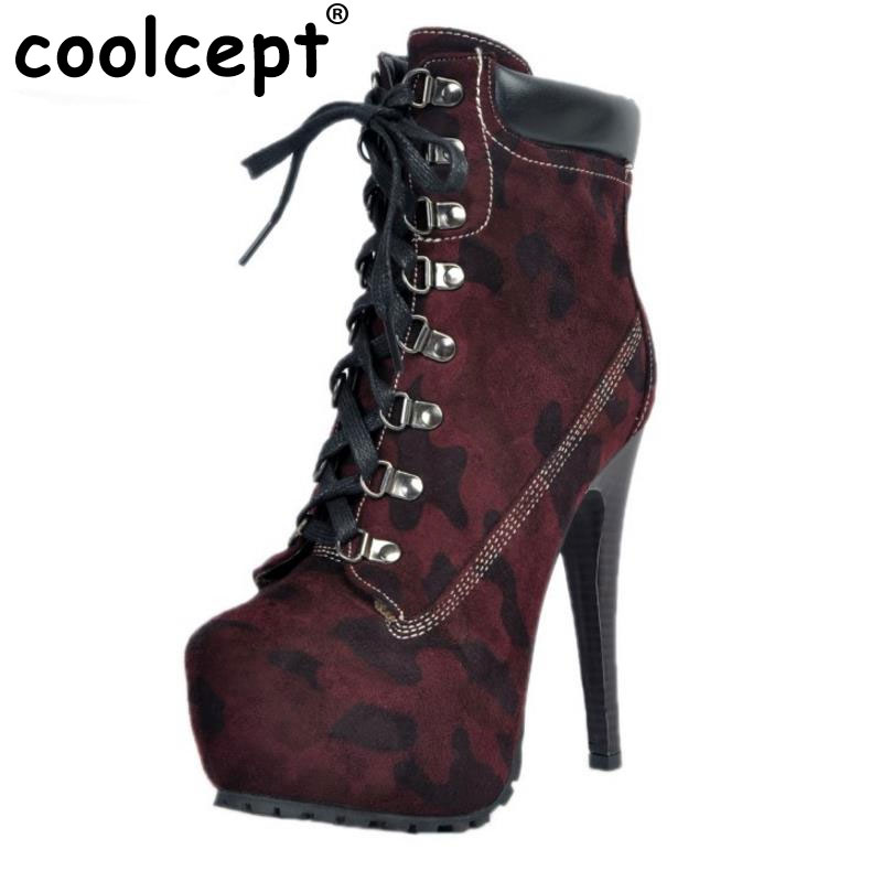 ФОТО Brand New Women Platform Thin High Heel Ankle Boots Woman Sexy Leopard Botas Fashion Lace Up Heels Shoes Footwear Size 34-47