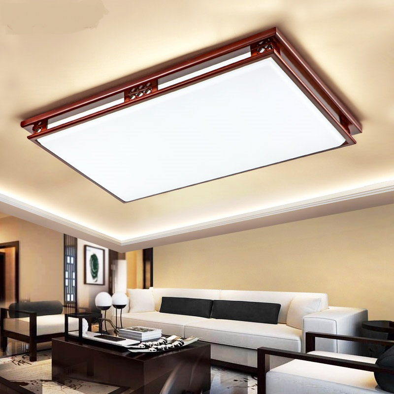 Chinese style Wooden ceiling lights Creative rectangular acrylic Living room bedroom hall hotel lighing ceiling lamps ZA ZS42