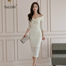цена на Plus Size Solid Pencil Dress Autumn Women White Three Quarter Sleeve Slash Neck Korean Wedding Lace Dress Vintage Party Dresses