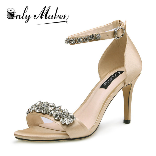 25e1f34bb8019 onlymaker Women's silk high heels Rhinestone Embellished High Heel Sandals  with Ankle Strap Strappy Bridal Pumps