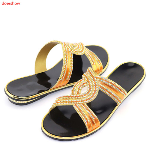 doershow High quality GOLD rhinestone women sandals design african ORANGE low heel shoes for dres HFF1-1doershow High quality GOLD rhinestone women sandals design african ORANGE low heel shoes for dres HFF1-1