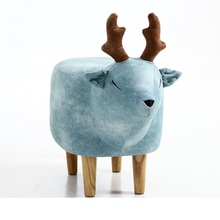 Creative lucky deer storage bench shoes bench children's room storage stool footstool animal stool solid wood stool nordic style simple foyer home padded cushion solid wood storage shoe bench shoes stool