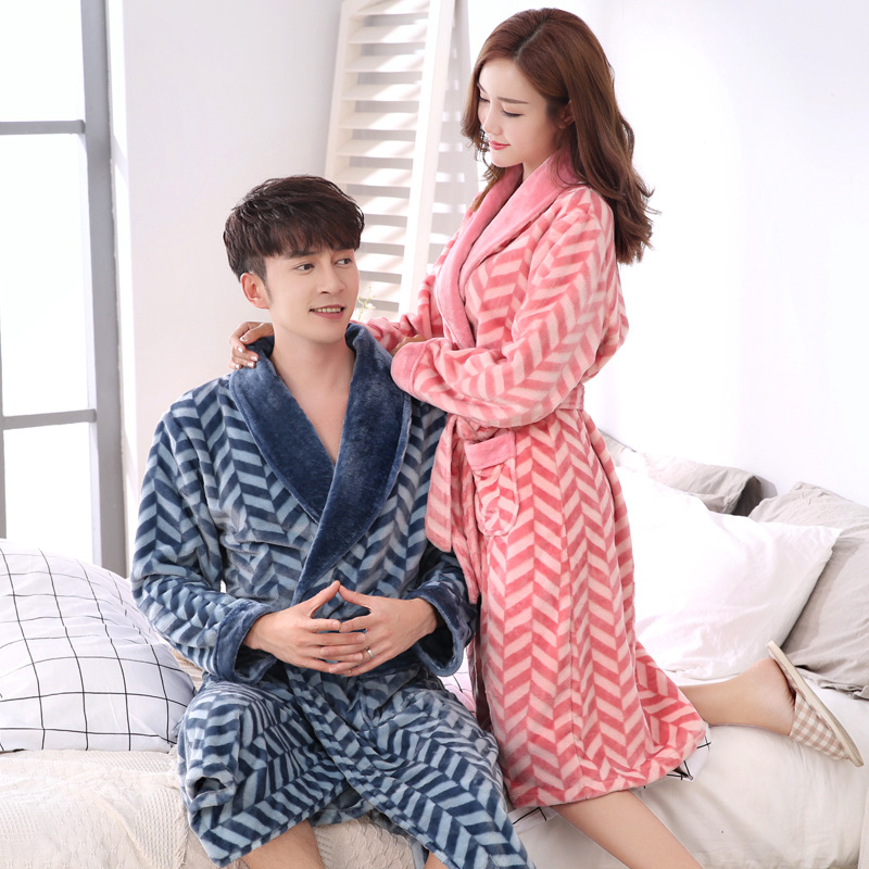 Women Sleepwear Robe Flannel Thicken Warm Couple Matching Nightwear Peignoir Femme Plus Size Batas De Mujer Terry Bathrobe