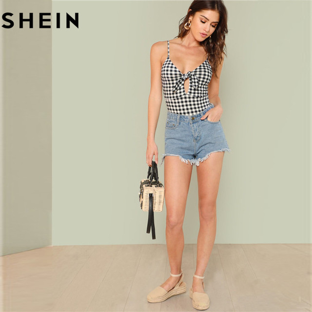 SHEIN Sleeveless Spaghetti Strap Sexy Backless Summer Women Bodysuits Mid Waist Deep V Plaid Cut Out Knot Skinny Cami Bodysuit 4