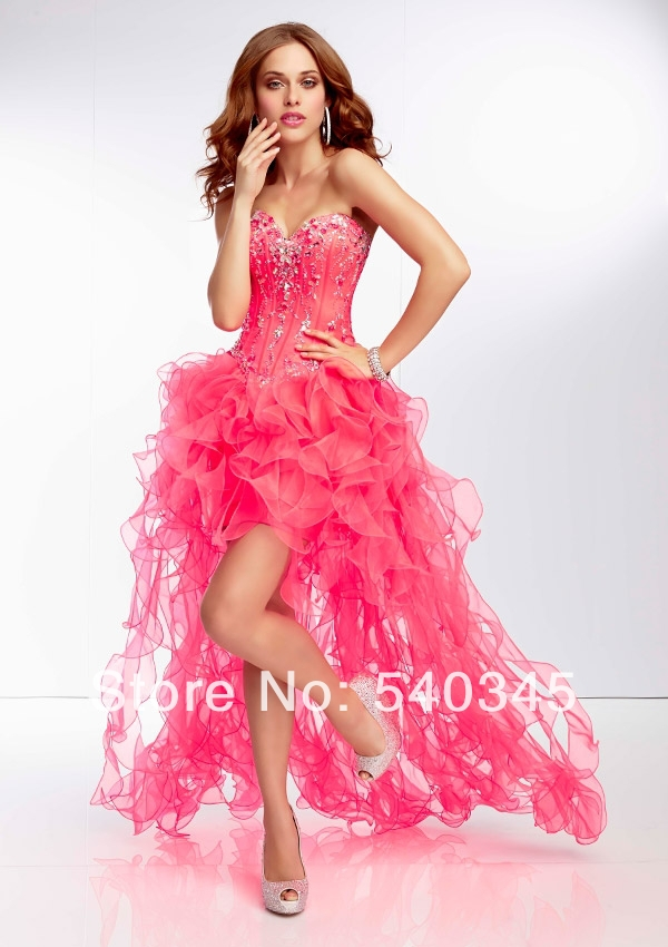 Front Short Back Long   Prom     Dresses   2014 Ball Gown Sweetheart Crystal Beading Sequined Organza Sexy Floor-Length Party   Dress   A21