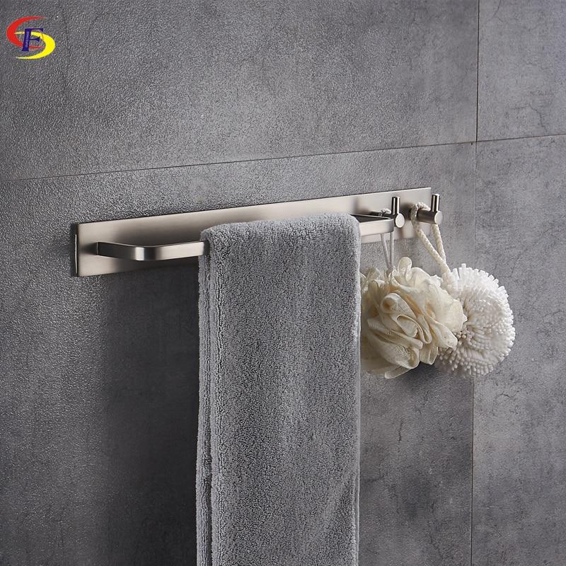 Anju Black/Brushed Aluminum Bathroom Towel Bar With Robe Hook Wall Mounted Bathroom Accessories Towel Rail