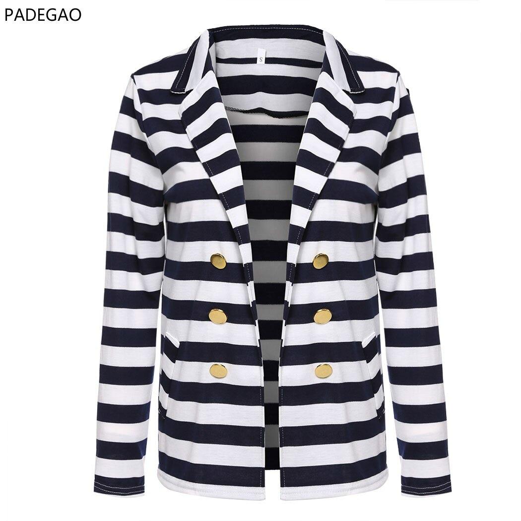 2017 Frauen New Striped Dünne Beiläufige Business Mode Blazer Regelmäßige Volle Hülse V Kragen Anzug Jacke Mantel Outwear Frauen Blazer Einfach Zu Reparieren