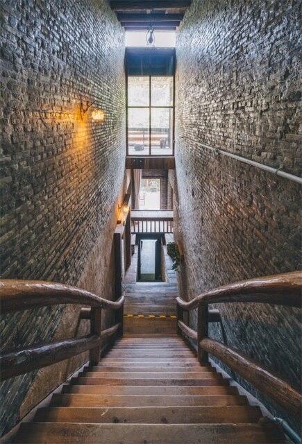 Laeacco Retro Holz Treppen Ziegel Innenwand Fotografie Hintergründe Vinyl  Benutzerdefinierte Fotografische Hintergründe Für Fotostudio