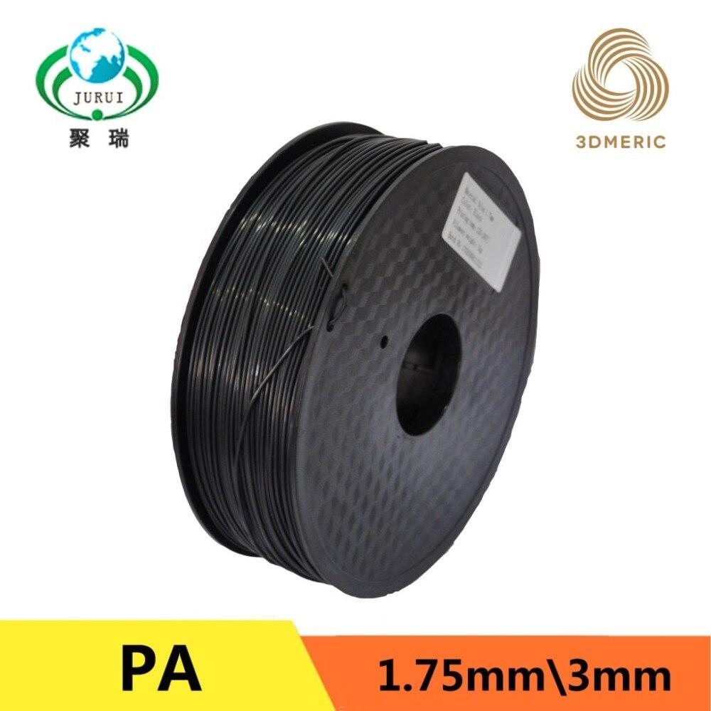Black 3D Printer Filament PA Nylon 1.75mm for Makerbot Reprap Mendel 1kg(2.2lb) 3d printer filament 1 75mm 3mm abs conductive color change pa nylon flexible 1kg 2 2lb for reprap markerbot