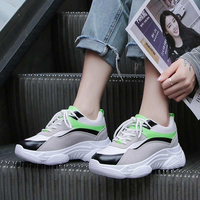 Mulheres Sapatos 2019 Nova plataforma cunha tênis de marca branca moda pai Confortáveis Senhoras Formadores chaussure femme Cesta
