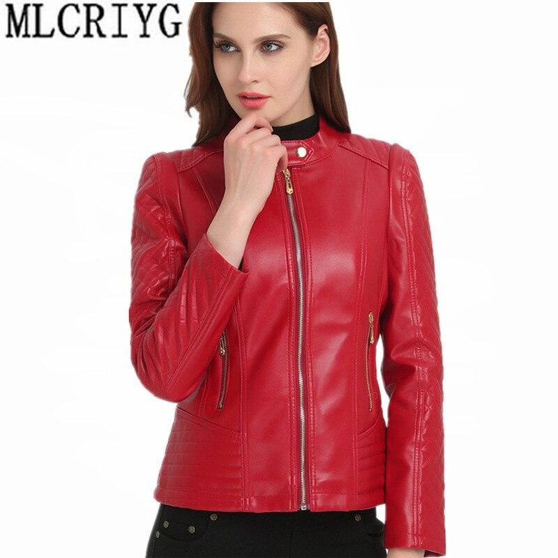 Autumn Short Faux   Leather   Jacket Women Fashion Zipper Motorcycle PU   Leather   Jacket Ladies Basic Coat Female Spring xl-6xl YQ117